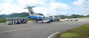 Bangkok Airways ATR-72 plane on the runway at Trat Airport