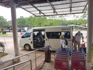 Arriving by minibus at Trat Airport