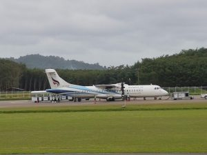 Plane on the runway at Trat Airport