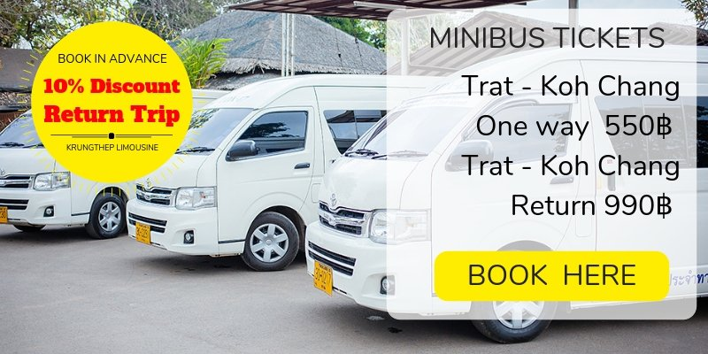 Book tickets for the shared minibus to Koh Chang
